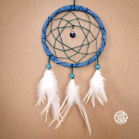 Dream Catcher - With Sparkling Deep Blue Pendant and Natural White Feathers - Boho Home Decor, Nursery Mobile
