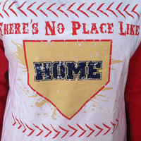 SALE There's no place like home, vintage screen printed tee, perfect for summer little league, baseball, team wear, fan apparel