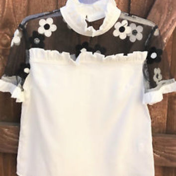 White Floral Embroidered Ruffle Sleeve Collar Top Size S