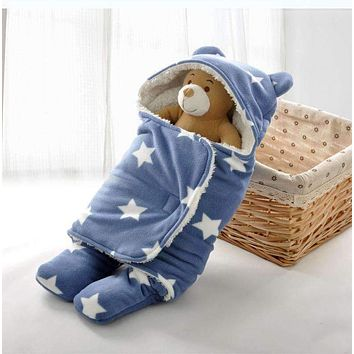 Baby Sleep Sack Winter Warm Baby Sleeping Bag for Stroller Newborn Swaddle Blanket With White Fleece Baby Bedding Accessories