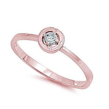 AUGUAU Cubic Zirconia Protection Against The Evil Eye Ring Sterling Silver (Color Options, Sizes 3-15)