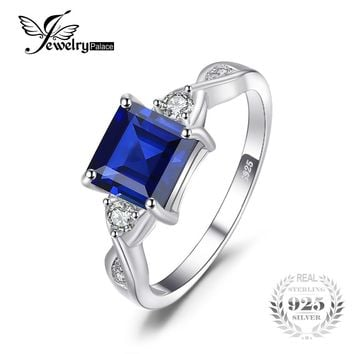 JewelryPalace Lab Created Blue Sapphire Sterling Silver Ring
