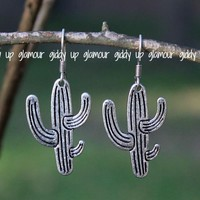 Small Cactus Earrings in Silver