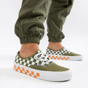 Vans Exclusive khaki And Orange Mix Checkerboard Authentic Trainers at asos.com