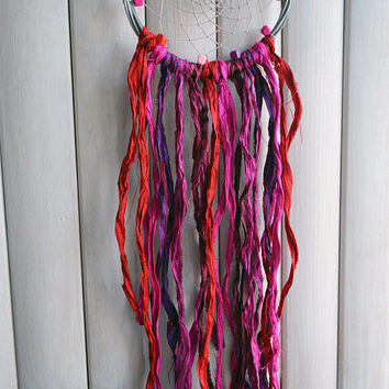 Magic Bohemian Dream Catcher, Home Decor, Wall decor, Wedding Decor, Gift, Boho Decor, Silk Sari, Purple, Red, Pink and Fuchsia
