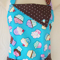 Turquoise Cupcake Apron / Women's Full Retro Style Apron / Colorful Cupcakes / Polka Dots