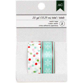 Aqua Snowflakes / Red Green and Aqua Dots; 2 Washi Tape Rolls, 20 Yards Total from American Crafts