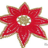 Christmas Doilies, Christmas Gift, Round Doily, Red Doily, Table Decoration, Centrino Natale (Cod. 73)