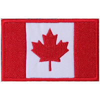 Canadian CA Flag Embroidered Patch Velcro For Sport Outdoor Army Baseball Hats