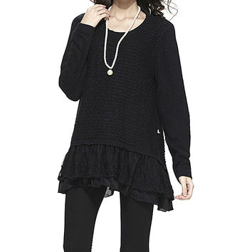 Simply Couture Black Ribbed Ruffle Tunic | zulily