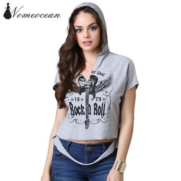 Rock and Roll Wings Print Letter T-shirt Hooded Hollow Out Sweep Short Sleeve T-shirt 2017 Summer Cut Out Casual Tee M17060816