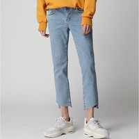 Diagonal Cutting Denim Pants