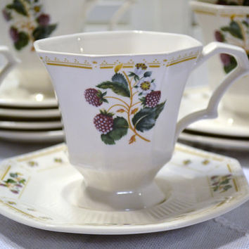 Vintage Nikko Classic Collection Orchard Cup Saucer Set of 7 Japan PanchosPorch