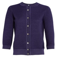 St. John Collection Purl Stripe Knit Cardigan   Nordstrom