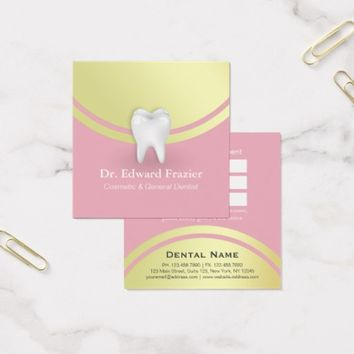 Cosmetic & General Dentist Appointment Pink & Gold Square Business Card