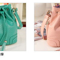 Versatile Lux Drawstring Bucket Leather Backet Shoulder Bag 2 Colors