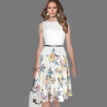 Vfemage Womens Summer Vintage Elegant Belted Print Chiffon Patchwork Tunic Work Office Party Fit and Flare A-Line Dress 608