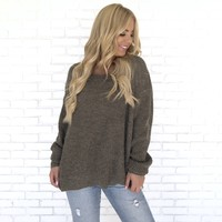 Give It A Twist Knit Sweater in Olive