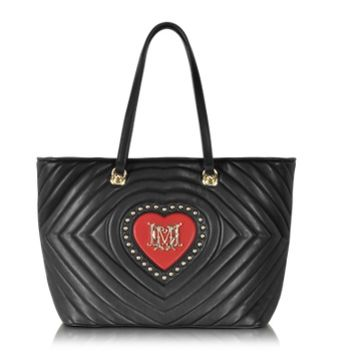 Moschino Designer Handbags Love Moschino Black Quilted & Red Heart Eco Leather Tote