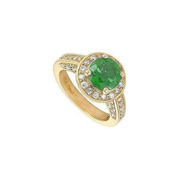 Emerald and Diamond Engagement Ring : 14K Yellow Gold - 4.00 CT TGW