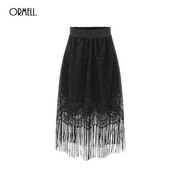 2016 New Summer Women Sexy Lace Skirts Womens Fashion Long Section Skirt Jupe Tassel Black Short Skirt