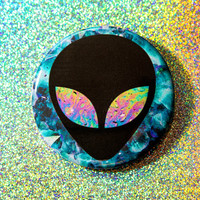 Alien with Oil Slick Eyes Pinback Button / Compact Mirror / Bottle Opener Keychain