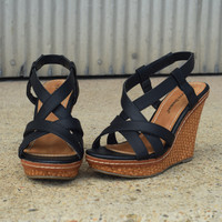 'Strap It Up Wedge' by Pierre Dumas {Black}
