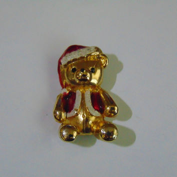 Vintage Christmas Teddy Bear with Red Hat and coat Brooch Pin Lapel