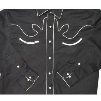 2X-Large Black Long Sleeve Retro Western Shirt