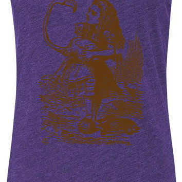 Alice in Wonderland - Alice Flamingo Croquet (Brown) Tri-Blend Racerback Tank-Top