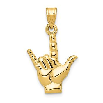 14K Yellow Gold Polished I Love You Hand/Sign Language Charm