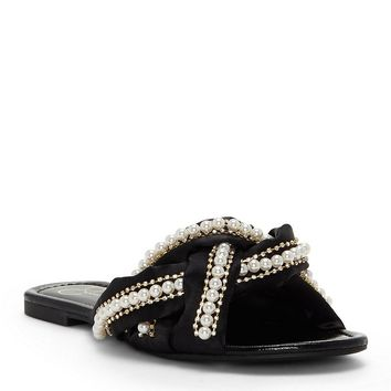 Jessica Simpson Rhondalin Crystal Satin Pearl Embellishment Chain Detail Slide Sandals | Dillards