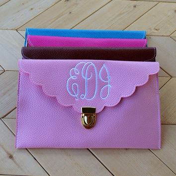 Scallopped Monogrammed Envelope Clutch Purse