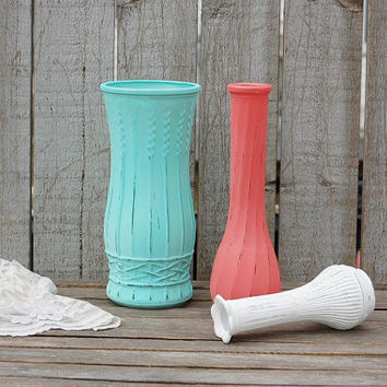 Shabby Chic Vases, Mint Green, Coral, White, Painted, Distressed, Glass, Wedding Decor, Set of 3, Centerpiece, Rustic