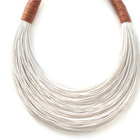 White and Cinnamon statement necklace