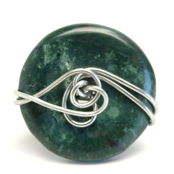 Jasper Ring 53 Green Donut Stone Wire Wrapped (Size 6.75)