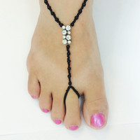 Crystal footless sandals / black or pearl beaded / foot jewelry / beach wedding / footless sandles / barefoot sandals / wedding sandals