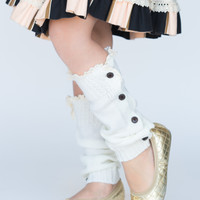 Ivory Button Down Boot Socks - Available for Girls and Women!