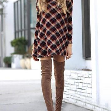 New Red-Black Plaid Draped High Neck Long Sleeve Flannel Christmas Casual Mini Dress