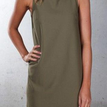 Streetstyle  Casual Green Plain Draped High Neck Casual Polyester Mini Dress