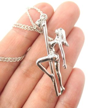 Pole Dancer Gymnastic Aerial Dance Themed Necklace in Silver | DOTOLY