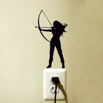 Archery Fabric Wall Decal - Bow And Arrow Wall Sticker - Teen Room Wall Art - Hunting Wall Decor - Woman Warrior Laptop Decal