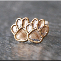 Paw Print Earrings. Gold Paw Print Post Earrings, Brass Dog Print Earrings, Handmade sterling silver post stud earrings, Dog Lover Jewelry
