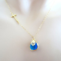 Blue ocean cross, gold/ silver, necklace, initial necklace, personalized necklace, jewelry, cross, cute, simple necklace
