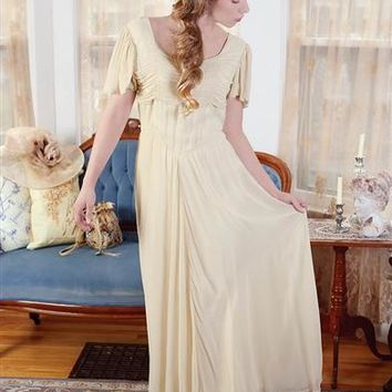 Antique Ruffle Dress | Ivory 1930s Ruched Dress