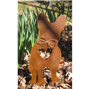 French Bulldog Dog Metal Garden Stake - Metal Yard Art - Metal Garden Art - Pet Memorial