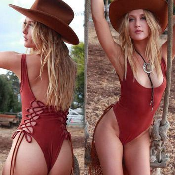 DCCKJL0 Hollow Out Backless Strappy One Piece Swimsuit Swimwear
