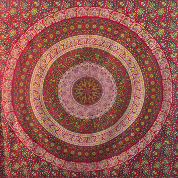 Twin Hippie Bedding Tapestry Indian Floral Barmeri Mandala Print Bedspread Tapestry Coverlet Sheet Small Wall Hanging Elephant Wall Hanging