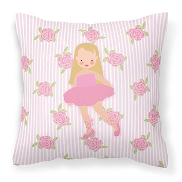 Ballerina Long Haired Blonde Fabric Decorative Pillow BB5185PW1414