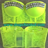 Studded Bustier Longline Bra Crop Top -  Neon Yellow Lace - Silver Black or Gold Studs -